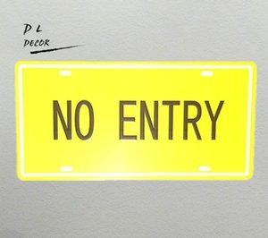 "DL- ""NO ENTRY""면허 번호판 YELLOW 주석 / 금속 사인 동굴 WALL DECOR 포스터"