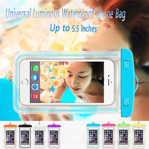 حقيبة مضادة للماء للهاتف iPhone 8 plus Case Luminous Pouch Water Proof Diving Diving for Samsung يصل إلى 5.5 بوصة