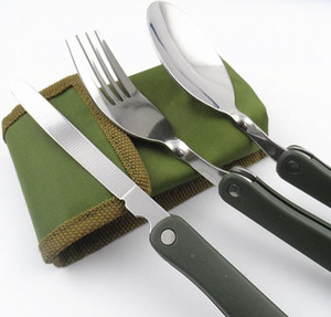 3 Pieces Set Portable Outdoor Tablewares Dinnerware Camping Cookware Folding Knife Spoon Fork Utensils for a Picnic Hike Travel Cutlery 5623