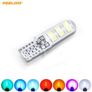 FEELDO 10 PCS Voiture T10 1948 168 W5W 2835 Puce 12SMD Voiture De Silice Licence LED Porte Licence LED Ampoule Wedge Lumière 7-Couleur # 4464
