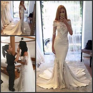Pallas vestidos de casamento mangas compridas Árabe baratos Steven Khalil New Berta Couture Colecção Primavera Off-ombro sereia Vestidos de casamento
