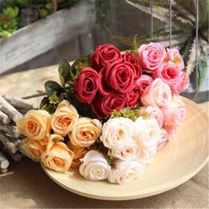 6 ألوان رومانسية زهور الزفاف باقة الزهور اليدوية الاصطناعي روز باقة باقة الزفاف لحلم الزفاف
