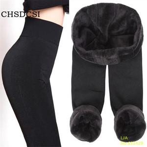 Tendance À Tricoter VENTE CHAUDE 2018 hiver nouvelle haute élastique épaissir Leggings dame pantalons chauds pantalons skinny pour les femmes