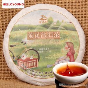 Vendite calde 100g Tè Puer maturo Yunnan Crisantemo aromatizzato Tè al tè Puer Torta naturale organica Pu'er Vecchio albero cotto Tè Puer Nero Puerh