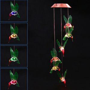 Moda Rüzgar Chime LED Işık Güneş Değişen Renk Hummingbird Asılı Çim Yard Bahçe Ev Dekorasyon