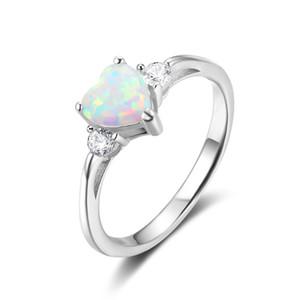 Alta qualità Luna Bianco Fire Opal Cuore Taglio Bianco Sapphire 925 Sterling Silver Anello Francia regalo gioielli