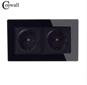Coswall Duvar Kristal Cam Panel Güç Soket Topraklı 16A AB Standart Elektrik Siyah Çift Çıkış 146mm * 86mm 110-250 V