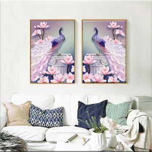 Venta al por mayor 1 UNIDS 5D DIY Magnolia Peacock Diamond Pintura Punto de Cruz Bordado Mosaico Imagen Decoración para el hogar