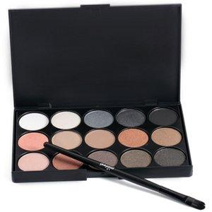 Venda quente 15 multi-color beauty girl sem veneno profissão maquiagem neutra paleta da sombra de olho com escova de pônei + b