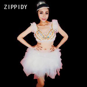 Sparkly Rhinestones Pearls Bra Mesh Skirt Big Stones Bikini Set Women's Dance Singer Sexy Costume Nightclub Birthday Clothes Set
