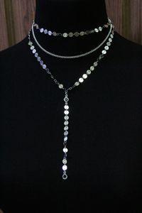 Медный материал блестки кристалл ожерелье кисточкой кулон 3 слоя комплект диск лариат кулон ожерелья чешские украшения