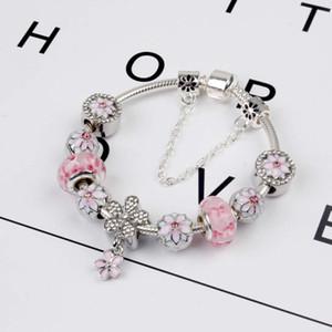 Bracelete de magnólia 925 acessórios de prata Braceletes De Flor De Pêssego Colar de cor de rosa Magnoliaeflora contas de Presente De Casamento Jóias