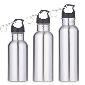 500ML / 750ML الفولاذ المقاوم للصدأ على نطاق واسع الفم شرب زجاجة ماء السفر في الهواء الطلق الرياضة دورة تسلق غلايات المحمولة