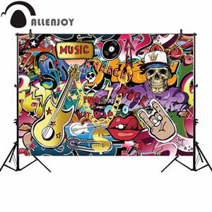 Atacado música rock fotografia cenário graffiti guitar party fundo photocall photoshoot prop decoração personalizada novo