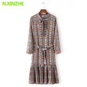 2018 femmes vêtements poignet manchon stand col lace-up impression géométrique Lanon robe mode féminine casual lâche robes robes S2780