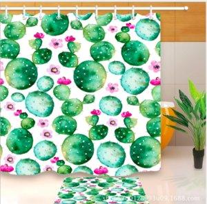 Fleur de Cactus Motif Design Décorations Irlandaises 3D Impression Étanche Salle De Bains Décor Tissu Douche Rideaux Tapis De Sol ensembles