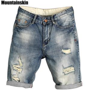 Mountainskin été Jogger hommes Ripped Denim Shorts Trou Streetwear Homme Fashion Jeans Jeans Homme mince