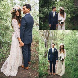 Marfil Bohemain completo largo vestido de la manga del cordón del ganchillo con cuello en V vestidos de playa de Boho barato de novia Vestidos de novia
