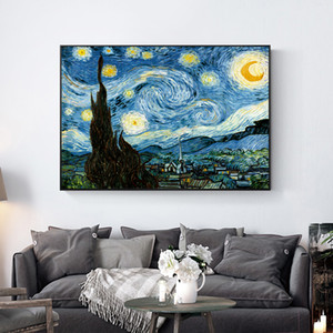 Van Gogh Noite Estrelada Pintado À Mão HD Impressão Abstrata Da Paisagem da arte pintura a óleo Wall Art Home Decor Na Lona Alta Qualityl 204