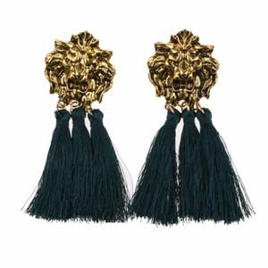 빈티지 여성 사자 머리 모양의 매달린 술 귀걸이 동물 프린지 귀걸이 파티에 대 한 패션 보석 매일 데이트 1 쌍