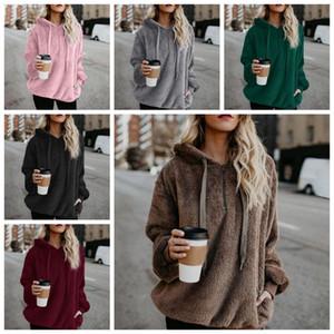 6 Renkler Katı Renk Sherpa Kazak Kalın Hoodies Streetwear Kadınlar Casual Fermuar Yaka Sherpa Hoodies Kazak Tişörtü CCA10391 6 adet