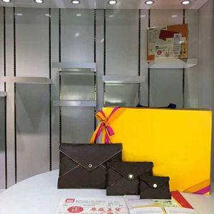 Genuine borsa di cuoio della moneta del 2019 Marchi donne breve HASP 3 set titolare Bag busta Card wallet Borse pochette kirigami frizione Bag 62034