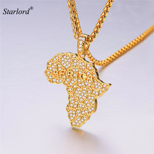 Iced Out Africa Map Necklace Gold/Silver Cubic Zirconia Africa Continent Pendant Necklace African Jewelry Hip Hop Style P3590