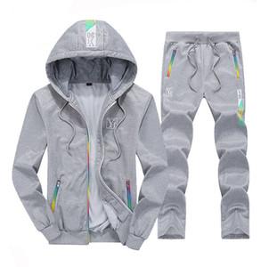 Hooded Sport Pullover Sportanzug gedruckt Farbstreifen Strickjacke 2018 neue Sport Pullover Männer täglich im Freien Langarm