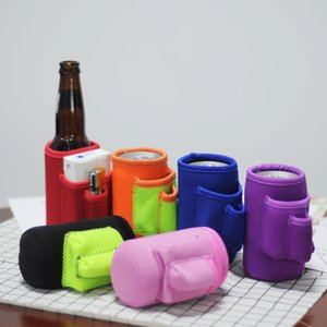 RoyalBlanks Wholesale Neopreno sólido Can Bottle Bottle Wrap Wrap Funda con 3 bolsillos Regalo de boda en 6 colores Envío gratis