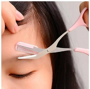 Sobrancelha Trimmer Tesoura Com Pente Removedor de Ferramentas de Maquiagem Remoção de Pêlos Grooming Shaping Shaver Trimmer Pestana Grampos de Cabelo