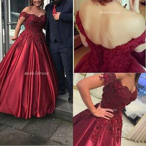 2019 elegante Prom Dresses apliques de contas Alças Backless Pavimento comprimento Burgundy Partido barato vestidos de noite Custom Made Plus Size
