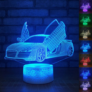 جميل سباق السيارات 3D LED الاكريليك ليلة الخفيفة التي تعمل باللمس 7 لون تغيير الجدول مكتب مصباح حزب ضوء الزخرفية