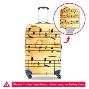 Streç Elastik Bagaj Koruyucu Kapak Için 18-30 Inç Arabası Bavul Vaka Seyahat Bagaj Üzerinde Müzikal Not Baskı Su Geçirmez Toz Kapakları