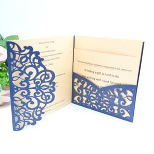 10 pcs Hot Sale Romantic Pocket Laser Cut Wedding Invitations Luxury Cards Cheap Chinese Personalised Handmade Envelope Sample Free Shipping