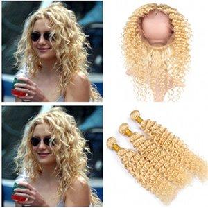 # 613 Blonde vierge brésilienne vague profonde de cheveux Bundles avec Full Frontals Golden Blonde 360 fermeture frontale en dentelle 22.5x4x2 avec armures