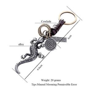Aleación gecko lagarto llavero de metal cadena y anillo de regalo pom mujeres de los hombres 2018 de la joyería del encanto del bolso hecho a mano de vaca llaveros colgantes