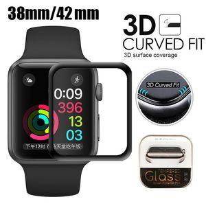 Protecteur d'écran en verre trempé, couverture totale, 40 mm, 42 mm, 38 mm, 44 mm, Apple Watch, 3D, anti-rayures, sans bulle pour iWatch Series, 1/2 / 3/4