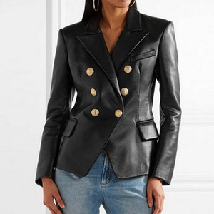 Spring Pu Leather Jacket Womens Suit Blazer Double Breasted Business Coats