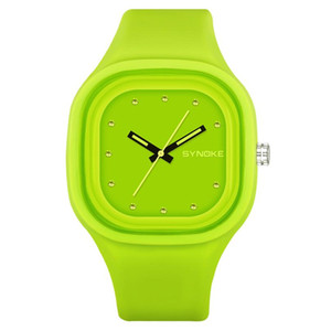SYNOKE Student Colorful Sports Watch Brand Women Unique Waterproof Silicone Band Green Blue Boys Digital Date Wrist Watch 66895