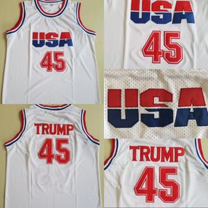 Mens 45 Donald Trump Movie Basketball Jersey Dream Team One Fashion 100% camisetas de baloncesto cosidas Blanco Envío gratis