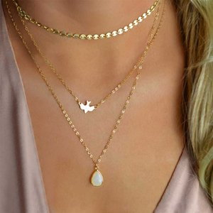 New Peace Dove Soar Flying 3 Layers Crystal Sequins Chain pigeon bird Water Drop Pendant Multilayer Necklace