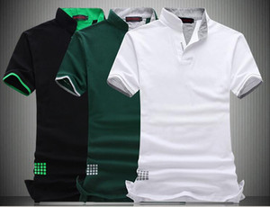 Fashion Design Hot Sell Polo da uomo Solid Stand Collar Manica corta Camicia Slim Fit uomo Casual in cotone Tshirt Plus Size 6XL