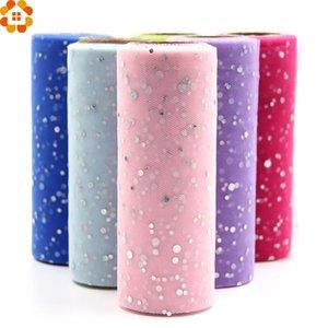 10 YardX15 cm Glitter Pailletten Tüll Rolle Kristall Organza Sheer Gaze Element Tisch RunnerHome Garten / Hochzeit Dekoration