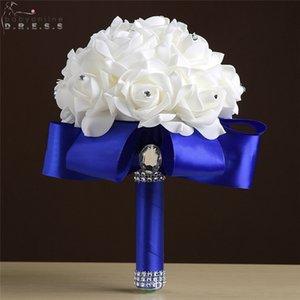 Brautjungfer Hochzeit Blumen Rose Crystal Wedding Bouquet Brautstrauß White Satin Band Handmade Hochzeit Dekoration