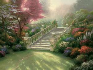 Merdiven Için Cennet Thomas Kinkade Yağlıboyalar Sanat Duvar Modern HD Tuval Ev Dekorasyonu Yok Çerçeve Üzerine Baskı