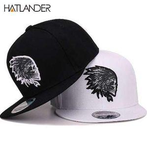 [HATLANDER] التطريز الجمجمة قبعات البيسبول القبعات الهيب هوب snapbacks شقة بريم العظام غورا الرياضة سنببك قبعات للرجال النساء للجنسين