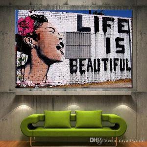 Impresión HD de alta calidad Banksy La vida es hermosa Impresión en lienzo Graffiti Arte de la pared Decoración para el hogar, Opciones de múltiples tamaños Pr141
