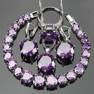 весь saleWedding фиолетовый Циркон серебро 925 ювелирные наборы браслеты серьги с камнями PendantNecklace кольца комплект ювелирных изделий подарочная коробка