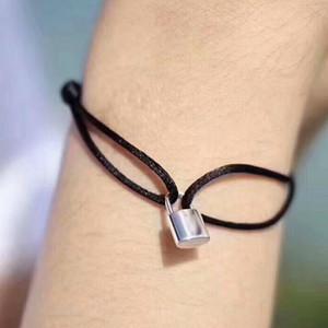 Neue Marke Frauen Liebhaber Armreif Handgemachte Einstellbare Seil Kette Armband Charm Lock Anhänger Titan Edelstahl für geschenk Mit brief 2123