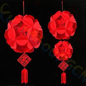 Bricolaje No tejido Festival de Año Nuevo Chino Hortensia linterna Colgante sala bar hotel fiesta decoraciones flor ornamento de la boda
